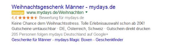 Ein Beispiel für die Anzeigenerweiterung in Google AdWords