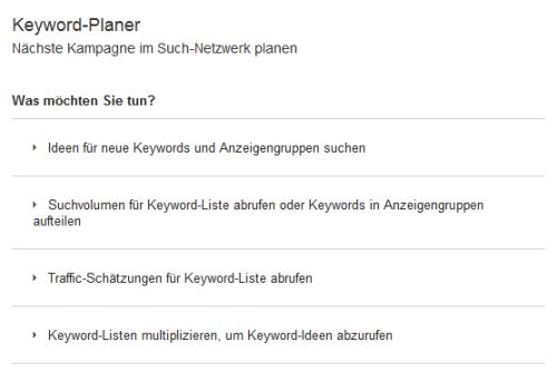 Keyword Planer - ein nützliches Tool zum Finden von Keywords