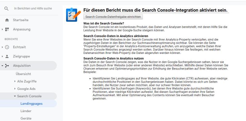 Der Bericht Search Console ist nur einsehbar, wenn sie mit Google Analytics verbunden ist.