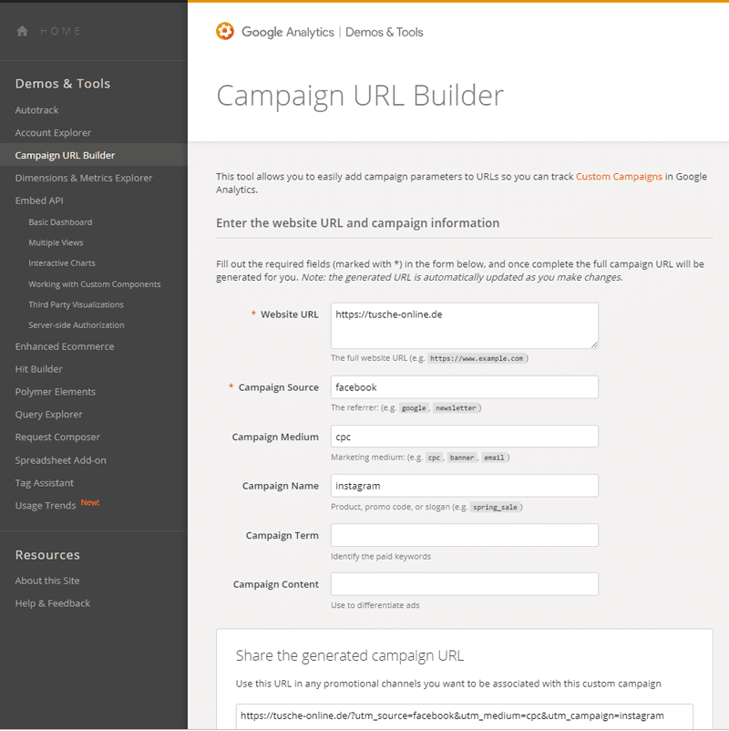 Kampagnentagging mit dem Google URL-Builder