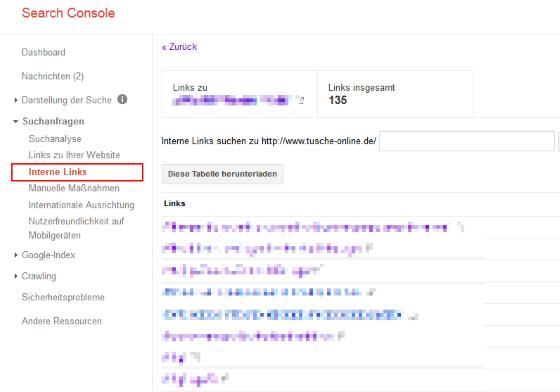 Die interne Verlinkung überprüfen mit der google search console