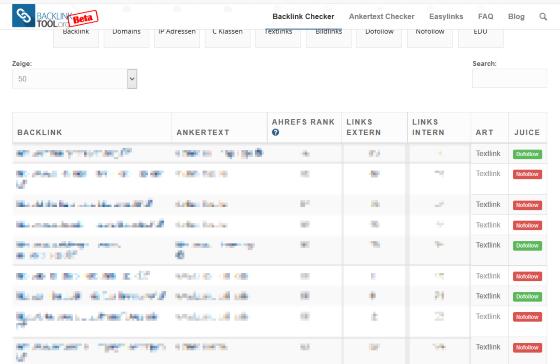 Tool zum Überprüfen von Backlinks