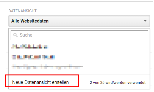 neue Datenansicht anlegen in google analytics