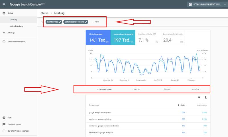Google Search Console Bericht Leistung