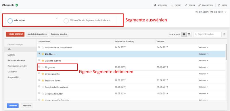 segmente in google analytics