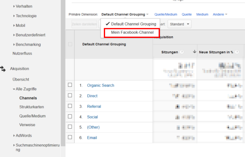 Channel-Gruppierung anzeigen lassen in Google Analytics