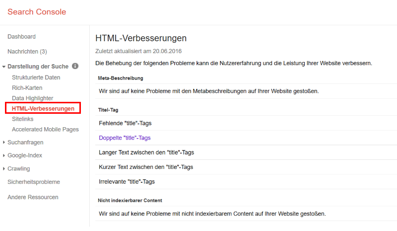 HTML Verbesserungen in der Google Search Console
