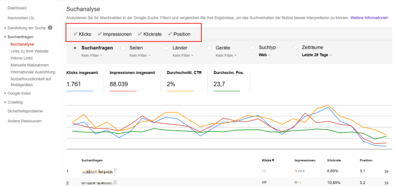 Suchanalyse in der Google Search Console