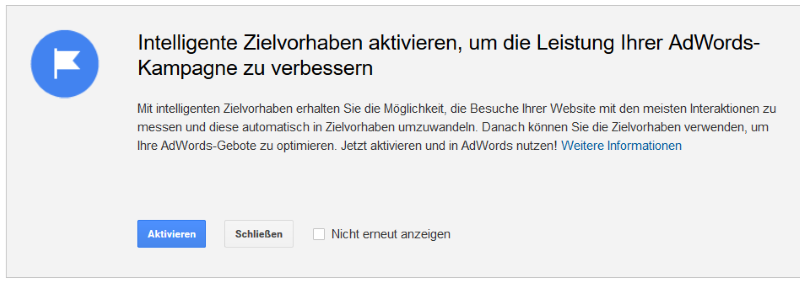 Intelligente Zielvorhaben in Google Analytics