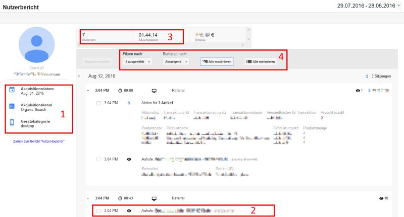 Details des Nutzer-Explorers in Google Analytics
