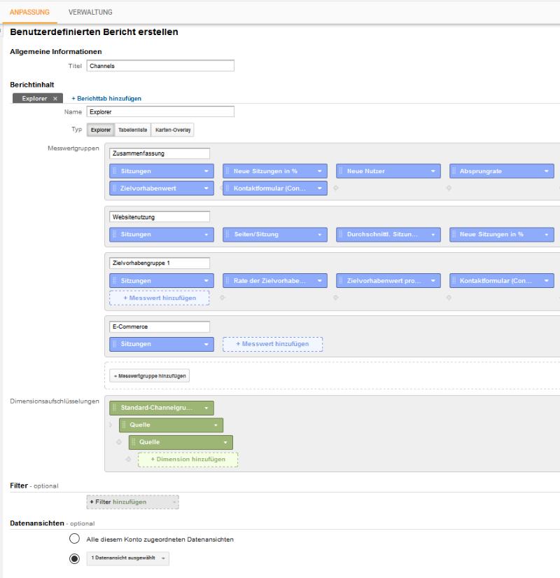 Benutzerdefinierte Berichte in Google Analytics