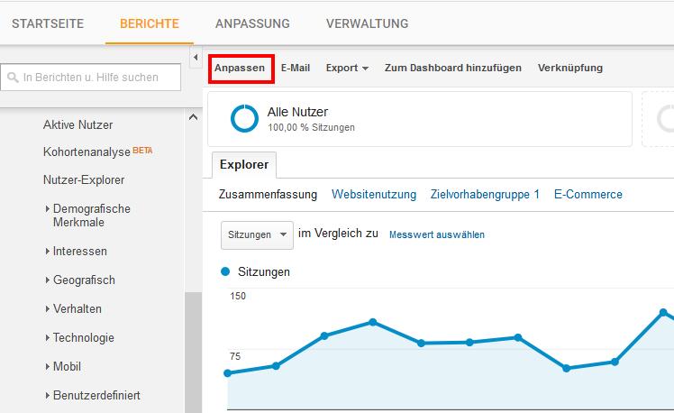 Anpassungen in Google Analytics