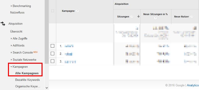 Kampagnen auswerten in Google Analytics