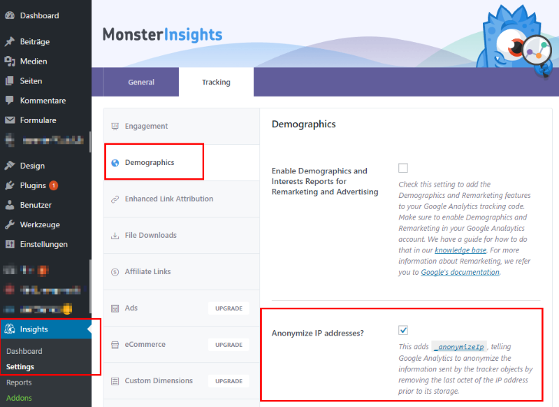 Monster-Insights Tracking