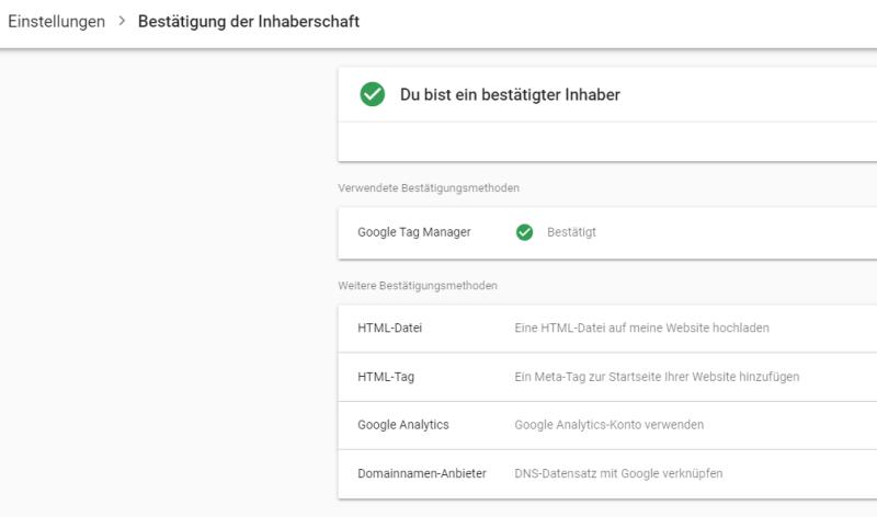 Bestätigung der Inhaberschaft in der Google Search Console