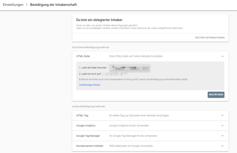 Inhaberschaft beantragen in der Google Search Console