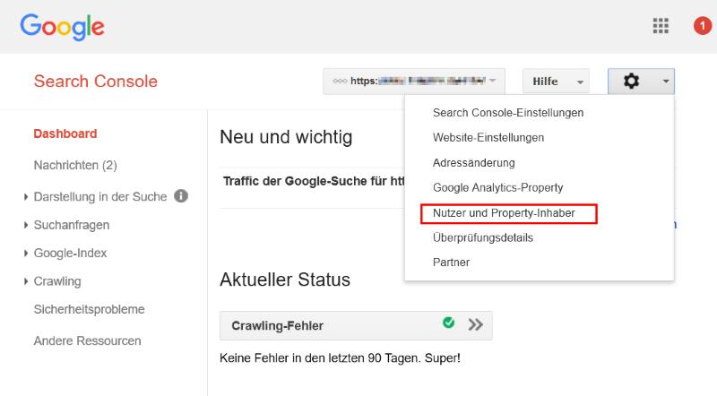 Nutzer und Property-Inhaber verwalten in der Google Search Console