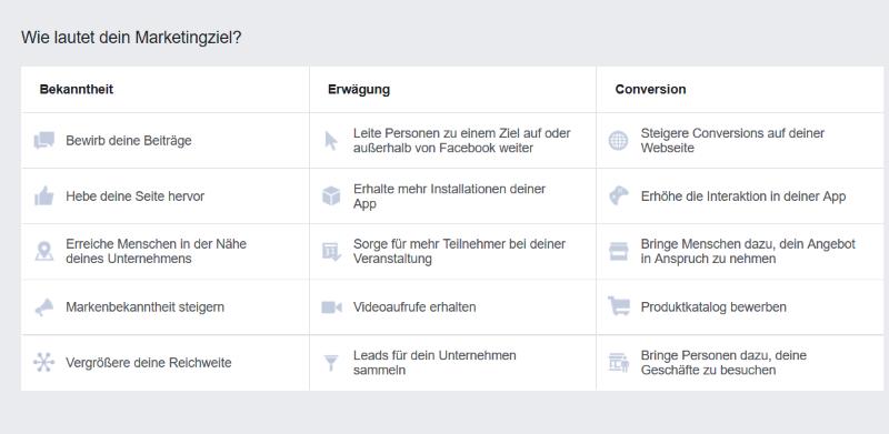 Marketingziele bei Facebook-Anzeigen