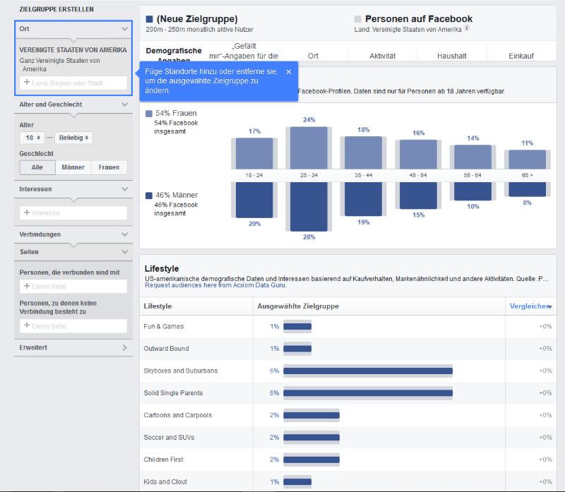 Zielgruppenstatistiken in Facebook