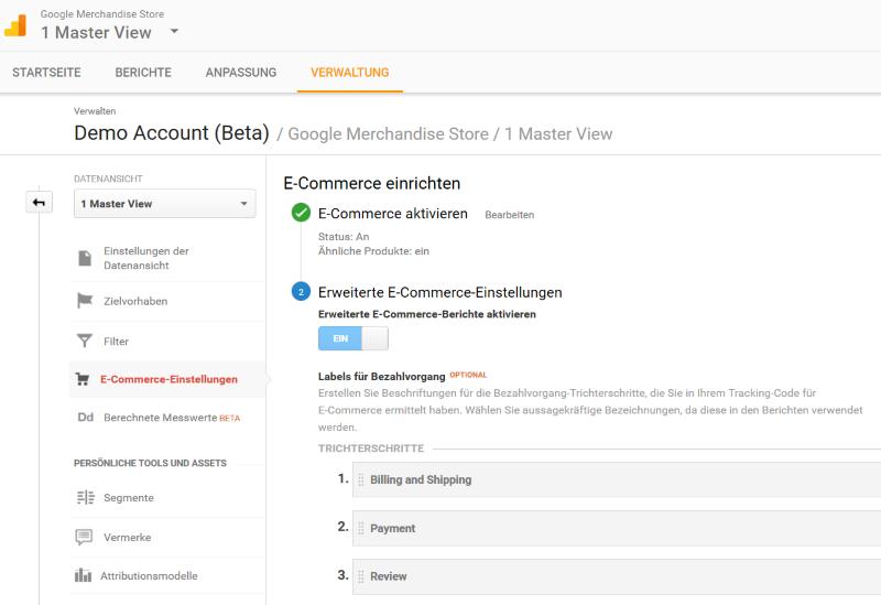 erweiterte e-commerce-berichte aktivieren