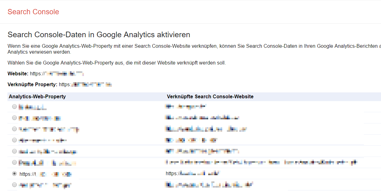 Einstellungen in der Search Console