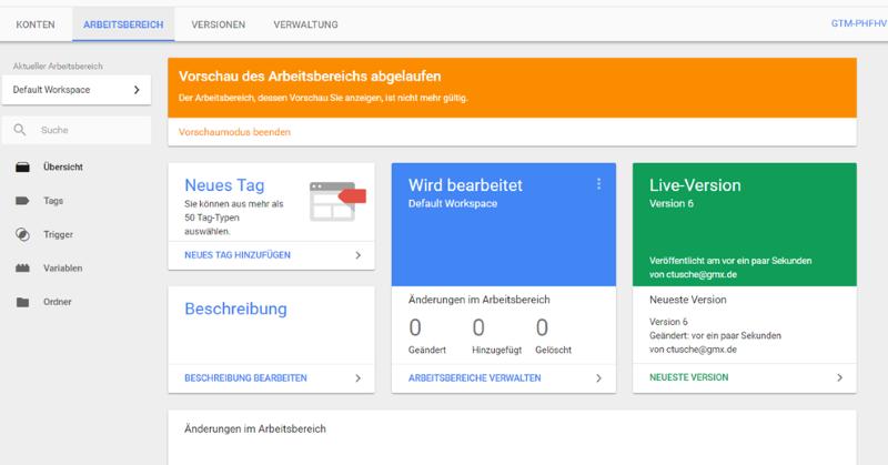 Die Google Tag Manager Benutzeroberfläche