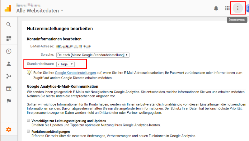 Nutzereinstellungen Google Analytic