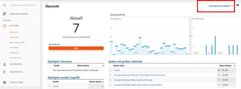 Verknüpfung Echtzeit Google Analytics
