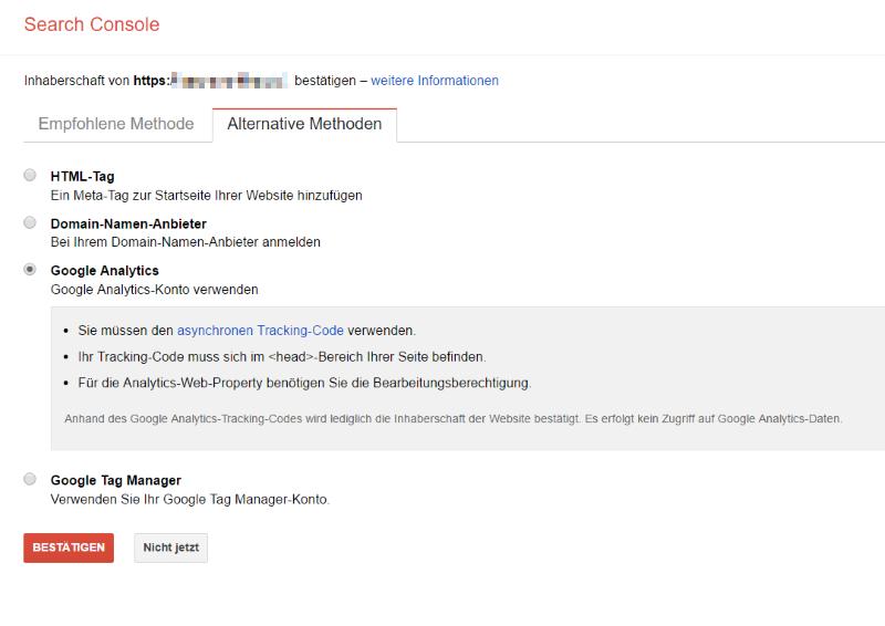 Methoden zur Bestätigung der Google Search Console
