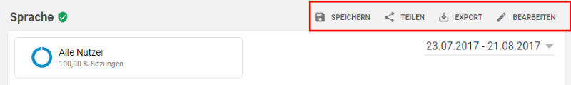Berichte in Google Analytics teilen und speichern