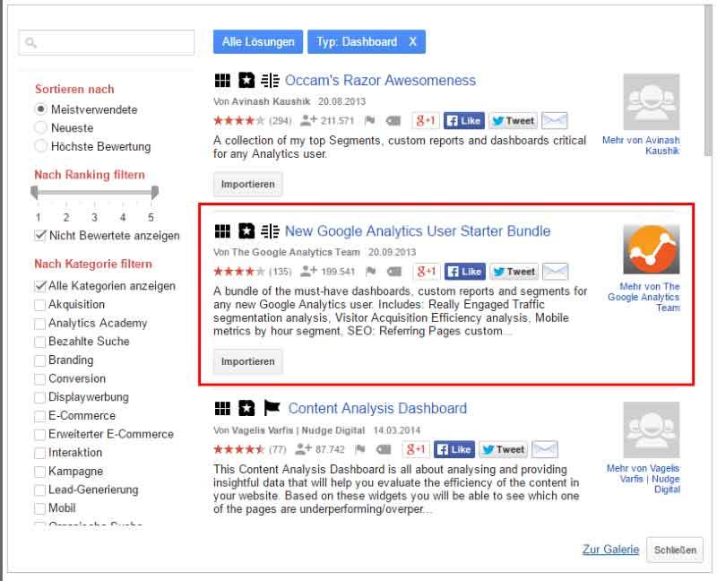 Die Lösungsgalerie in Google Analytics
