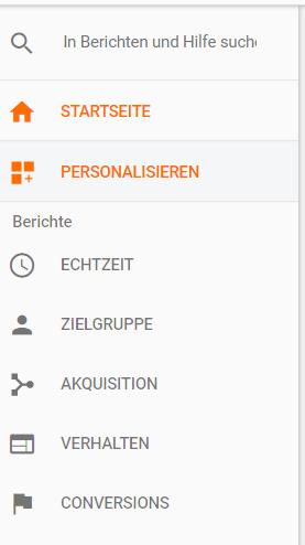 Der neue Menüpunkt Startseite in Google Analytics