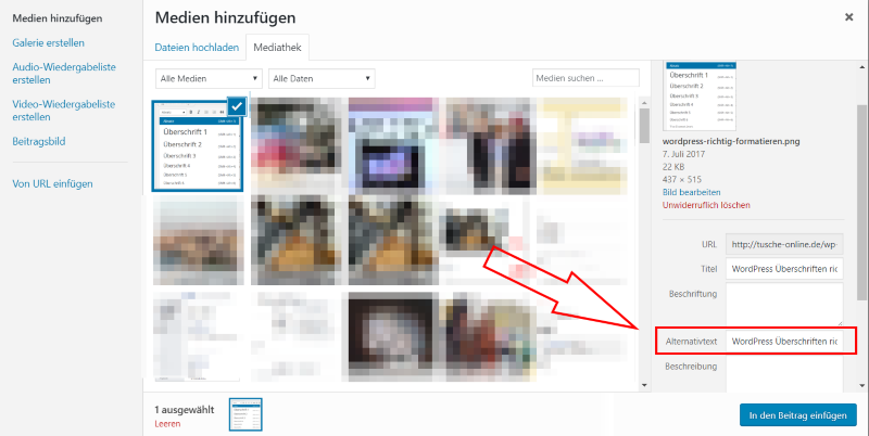 WordPress alt-tag für Bilder