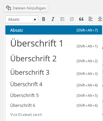 WordPress Überschriften richtig formatieren