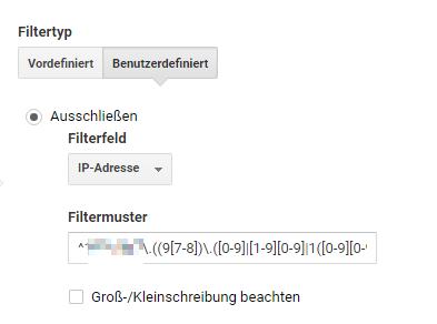 Filter Ausschluss IP-Adressen