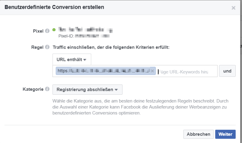 Benutzerdefinierte Conversions in Facebook