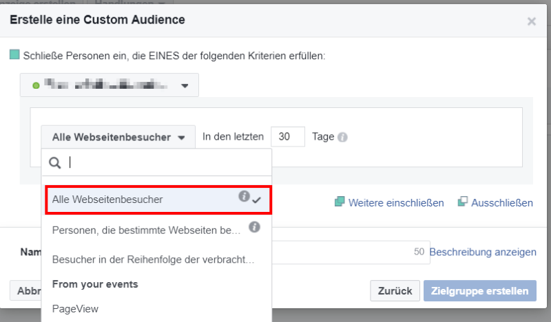 Eine Website Custom Audience in Facebook definieren