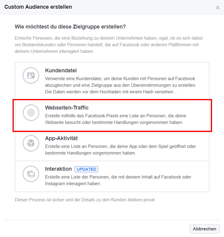 Website-Custom Audience in Facebook erstellen