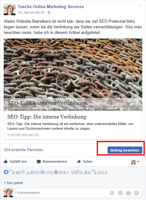Facebook Beiträge bewerben