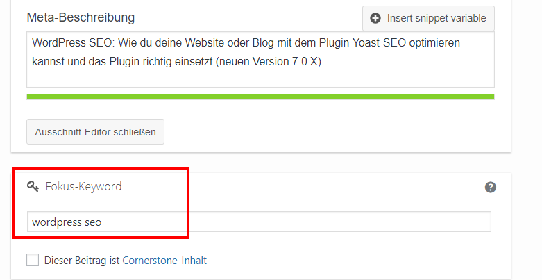 Das Fokus-Keyword in Yoast