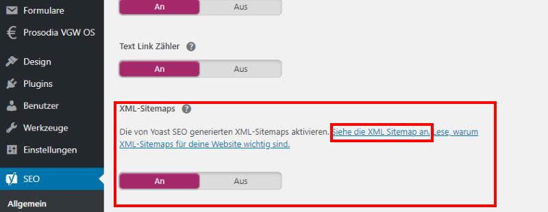 Die XML-Sitemap wird vom Yoast Tool automatisch erstellt
