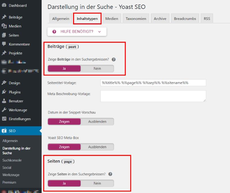 WordPress SEO mit Yoast - Inhaltstypen