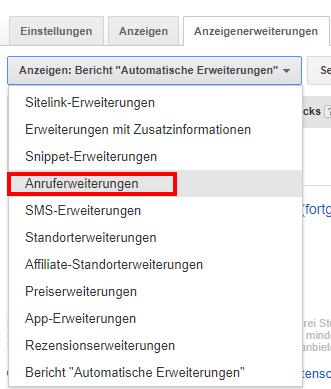 Anzeigenerweiterungen in Google AdWords