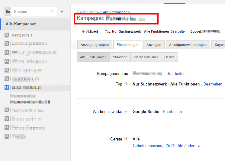 Kampagneneinstellungen Google AdWords