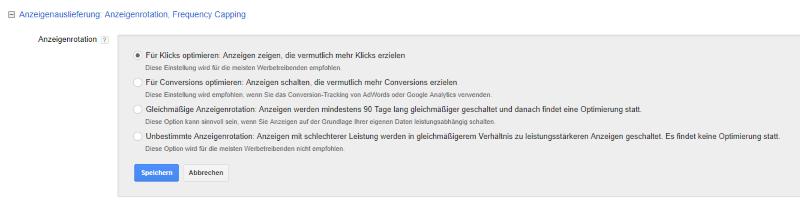 Google Adwords Anzeigenauslieferung