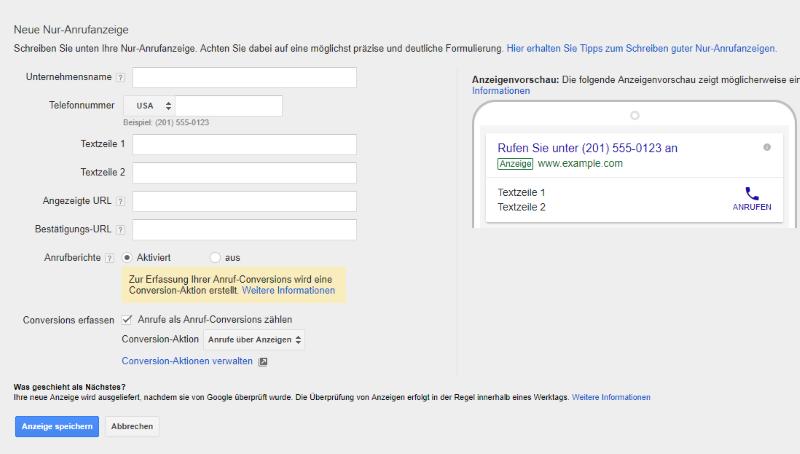 Nur-Anruf-Anzeige Google AdWords