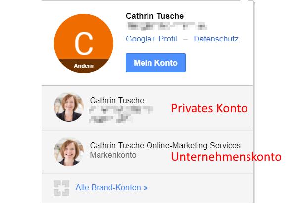 privates Konto und Firmenkonto google plus