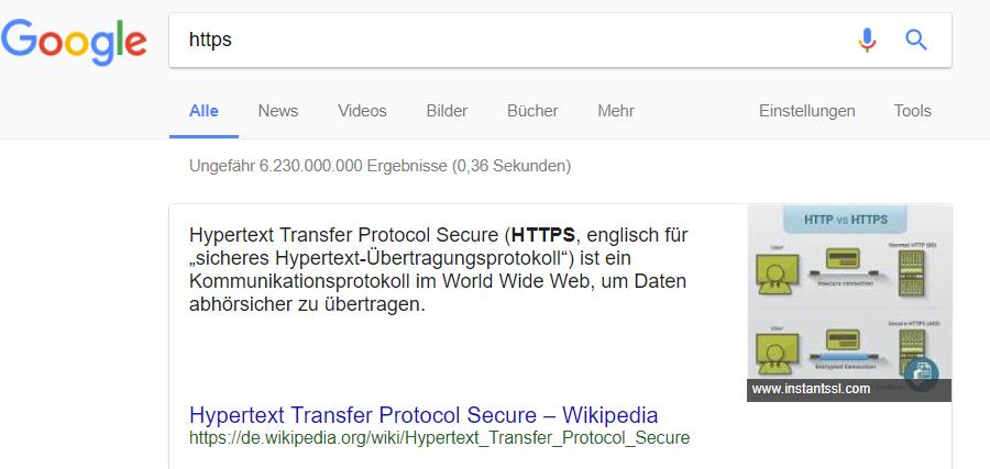 Featured snippet in den Suchergebnissen