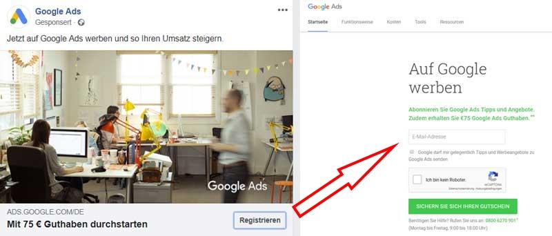 Beispiel Anzeige Landingpage für Google Ads Gutscheine