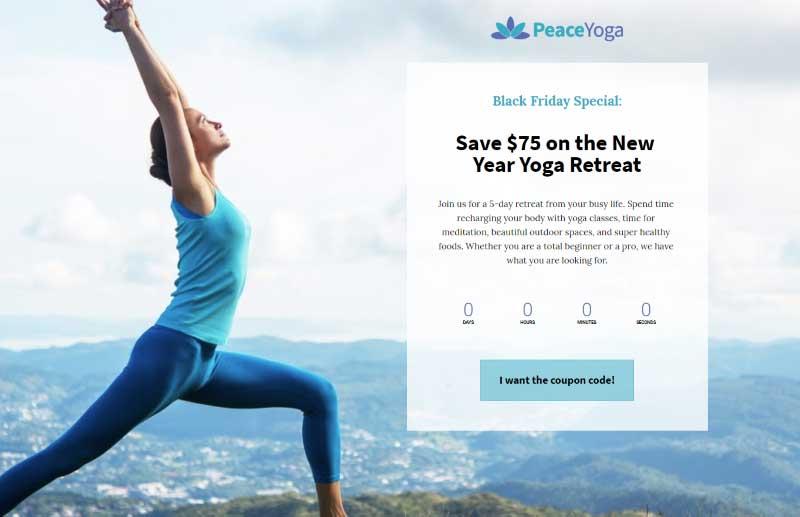 Ein Beispiel für eine Landingpage für ein Yogastudio